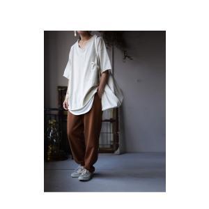 トップス カットソー 半袖 五分袖 綿 綿100% ポケット ポケ付きビッグT・5月23日20時〜再再販。80ptメール便可|antiqua|18
