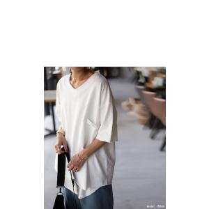 トップス カットソー 半袖 五分袖 綿 綿100% ポケット ポケ付きビッグT・5月23日20時〜再再販。80ptメール便可|antiqua|03