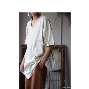 トップス カットソー 半袖 五分袖 綿 綿100% ポケット ポケ付きビッグT・5月23日20時〜再再販。80ptメール便可|antiqua|05