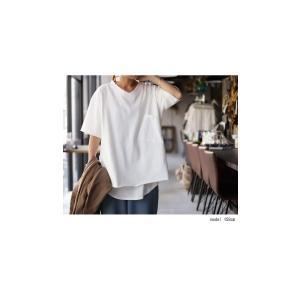 トップス カットソー 半袖 五分袖 綿 綿100% ポケット ポケ付きビッグT・5月23日20時〜再再販。80ptメール便可|antiqua|10