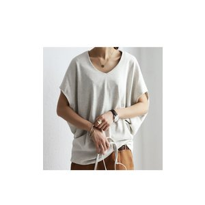 トップス カットソー 半袖 Tシャツ ワイド VネックT・5月25日20時〜発売。(100)メール便可|antiqua|21