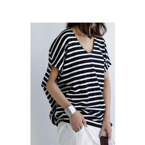 トップス カットソー 半袖 レディース Tシャツ  VネックボーダーT・(100)メール便可|antiqua|16