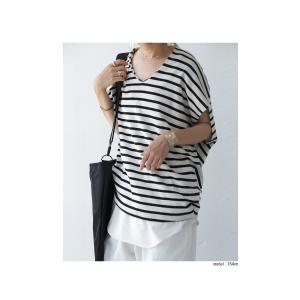 トップス カットソー 半袖 レディース Tシャツ  VネックボーダーT・(100)メール便可|antiqua|20