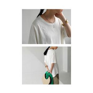 トップス Tシャツ レディース 半袖 綿 綿100 カットソー スラブトップス・4月25日20時〜発売。80ptメール便可|antiqua|12