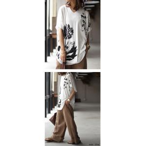 トップス レディース 半袖 カットソー 綿100 Vネック 花柄ドルマンTシャツ・6月30日0時〜再販。新色追加 50ptメール便可 antiqua 11