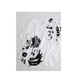 トップス レディース 半袖 カットソー 綿100 Vネック 花柄ドルマンTシャツ・6月30日0時〜再販。新色追加 50ptメール便可 antiqua 12