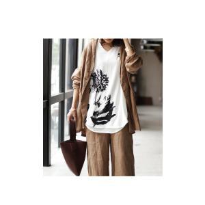 トップス レディース 半袖 カットソー 綿100 Vネック 花柄ドルマンTシャツ・6月30日0時〜再販。新色追加 50ptメール便可 antiqua 13