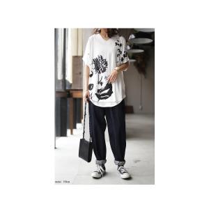 トップス レディース 半袖 カットソー 綿100 Vネック 花柄ドルマンTシャツ・6月30日0時〜再販。新色追加 50ptメール便可 antiqua 14