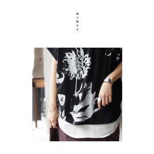 トップス レディース 半袖 カットソー 綿100 Vネック 花柄ドルマンTシャツ・6月30日0時〜再販。新色追加 50ptメール便可 antiqua 15
