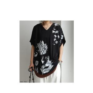 トップス レディース 半袖 カットソー 綿100 Vネック 花柄ドルマンTシャツ・6月30日0時〜再販。新色追加 50ptメール便可 antiqua 18