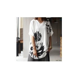 トップス レディース 半袖 カットソー 綿100 Vネック 花柄ドルマンTシャツ・6月30日0時〜再販。新色追加 50ptメール便可 antiqua 03