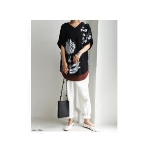 トップス レディース 半袖 カットソー 綿100 Vネック 花柄ドルマンTシャツ・6月30日0時〜再販。新色追加 50ptメール便可 antiqua 04