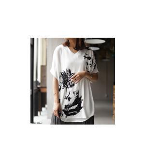 トップス レディース 半袖 カットソー 綿100 Vネック 花柄ドルマンTシャツ・6月30日0時〜再販。新色追加 50ptメール便可 antiqua 10