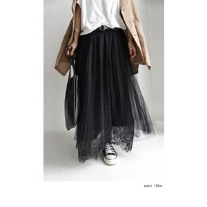 ボトムス スカート チュール モード レースチュールスカート・2月9日20時〜発売。##メール便不可|antiqua|10