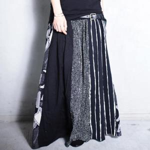 大人気の切替えスカートに新作登場。柄切替えロングスカート・1月12日20時〜再再販。##メール便不可|antiqua
