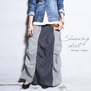 スカート チェック柄 ストライプ レトロ 変形ロングスカート・再販。##メール便不可|antiqua