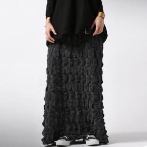 ボトムス スカート 柄 モード 立体柄ロングスカート・##メール便不可|antiqua
