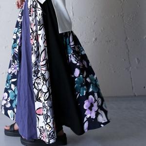 スカート ボトムス ロングスカート レディース 花柄切り替えリブロングスカート・5月18日20時〜発売。##メール便不可 antiqua