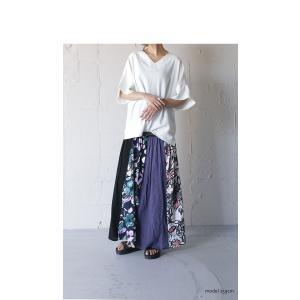 スカート ボトムス ロングスカート レディース 花柄切り替えリブロングスカート・6月26日20時〜再販。##メール便不可 antiqua 03