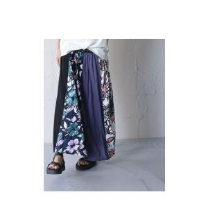 スカート ボトムス ロングスカート レディース 花柄切り替えリブロングスカート・6月26日20時〜再販。##メール便不可 antiqua 08
