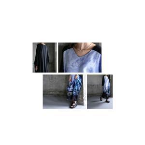 ワンピース 長袖 九分袖 Vネック ロング マキシ丈 アート柄ワンピ・(100)メール便可|antiqua|08