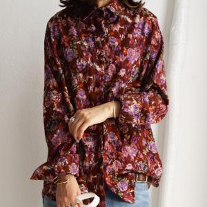 トップス レディース シャツ 長袖 アンティーク レトロ 花柄シャツ・再販。80ptメール便可|antiqua