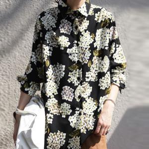 トップス レディース シャツ 長袖 花柄 紫陽花 アジサイ 花柄シャツ・再販。80ptメール便可|antiqua