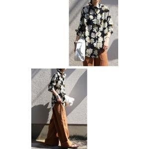 トップス レディース シャツ 長袖 花柄 紫陽花 アジサイ 花柄シャツ・再販。80ptメール便可|antiqua|11
