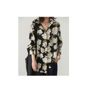 トップス レディース シャツ 長袖 花柄 紫陽花 アジサイ 花柄シャツ・再販。80ptメール便可|antiqua|03