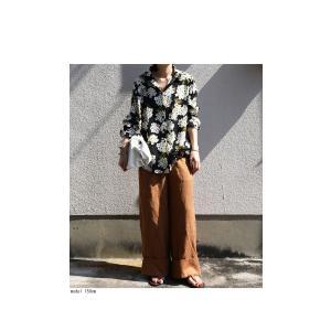 トップス レディース シャツ 長袖 花柄 紫陽花 アジサイ 花柄シャツ・再販。80ptメール便可|antiqua|04