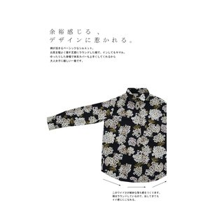 トップス レディース シャツ 長袖 花柄 紫陽花 アジサイ 花柄シャツ・再販。80ptメール便可|antiqua|05