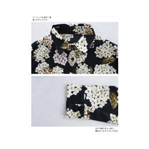 トップス レディース シャツ 長袖 花柄 紫陽花 アジサイ 花柄シャツ・再販。80ptメール便可|antiqua|06