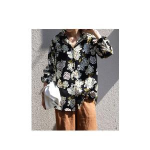 トップス レディース シャツ 長袖 花柄 紫陽花 アジサイ 花柄シャツ・再販。80ptメール便可|antiqua|10