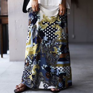 ボトムス レディース スカート ロングスカート マキシ丈 柄ロングスカート・再販。100ptメール便可|antiqua