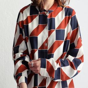 トップス レディース シャツ 長袖 オープンカラー 羽織り 幾何学柄シャツ・6月17日20時〜発売。100ptメール便可|antiqua