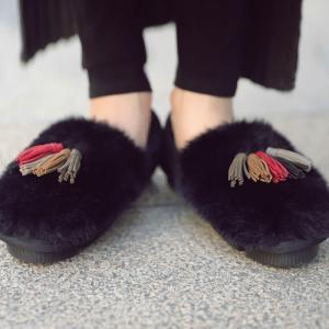 靴 モカシン ファー オリジナル タッセル付き極ふわファーシューズ・10月31日20時〜再販。##メール便不可|antiqua