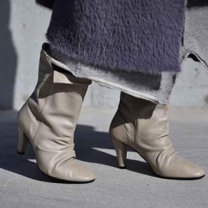 靴 ブーツ ヒール 日本製 ギャザー 本革ルーズフィットブーツ・再販。##メール便不可|antiqua