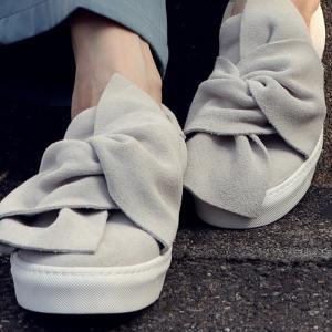 靴 リボン スニーカー スエード 本革スウェードモードスニーカー・再再販。##「G」メール便不可|antiqua
