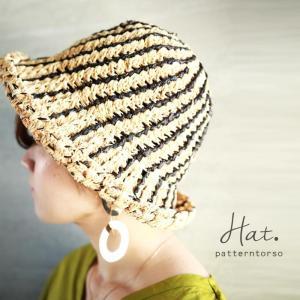 ファイナルバーゲン。帽子 ハット ストローハット ハンドメイド ライン柄ハット・再再販。##メール便不可(返品・キャンセル・交換不可。)|antiqua