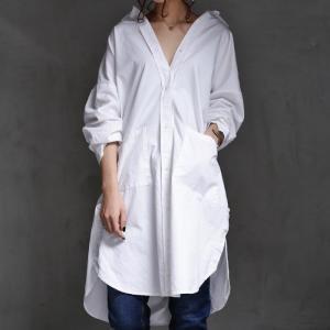 トップス シャツ 綿 綿100% 七分袖 ロング 綿シャツ デザインロングシャツ・6月15日20時〜再再販。##メール便不可|antiqua