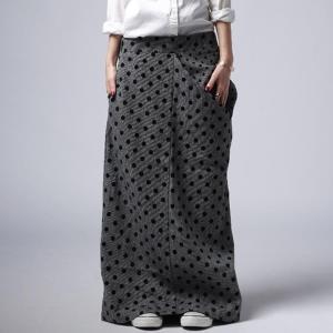 スカート ロング ストレート アシメ 水玉 ドット変形スカート・再販。##メール便不可|antiqua
