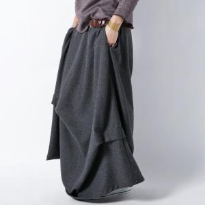 ボトムス スカート 変形 ウール モードドレープスカート・##メール便不可|antiqua