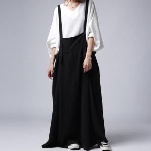 サロペット ワンピース ブラック ワイド シンプルサロペスカート・##メール便不可|antiqua