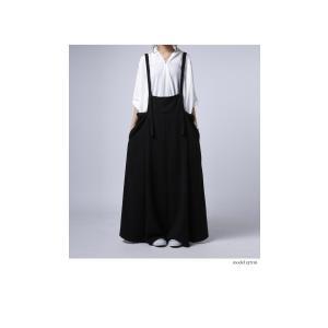 サロペット ワンピース ブラック ワイド シンプルサロペスカート・##メール便不可|antiqua|03