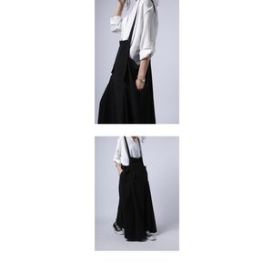 サロペット ワンピース ブラック ワイド シンプルサロペスカート・##メール便不可|antiqua|04