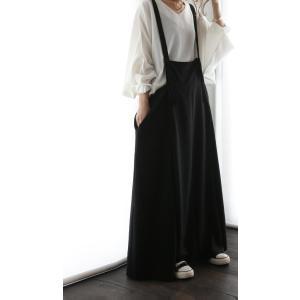 サロペット ワンピース ブラック ワイド シンプルサロペスカート・##メール便不可|antiqua|09
