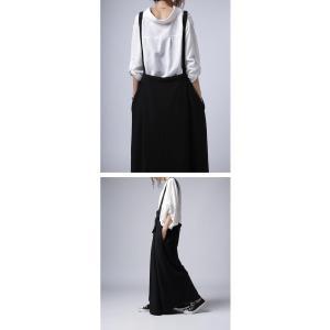 サロペット ワンピース ブラック ワイド シンプルサロペスカート・##メール便不可|antiqua|10
