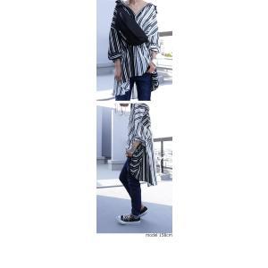 トップス 長袖 シャツ レディース バイカラー ストライプワイドシャツ・##メール便不可|antiqua|04