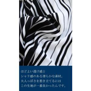 トップス 長袖 シャツ レディース バイカラー ストライプワイドシャツ・##メール便不可|antiqua|06