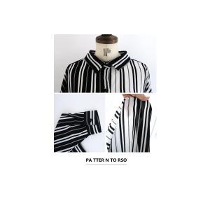 トップス 長袖 シャツ レディース バイカラー ストライプワイドシャツ・##メール便不可|antiqua|08
